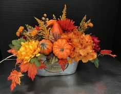 Pumpkins in a Tin by Andrea Fall Swags, Fall Wreaths, Fall Deco Mesh, Fall Floral Arrangements, Autumn Lights, Thanksgiving Centerpieces, Fall Diy, Fall Flowers, Fall Pumpkins
