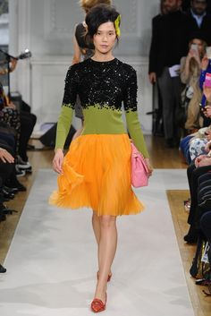 Moschino Cheap & Chic --- seeing this bursts of green and orange energize me instantly.