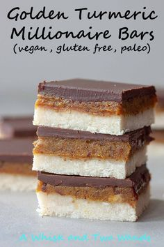 Delicious Golden Turmeric Millionaire Bars are quick and easy to make, no bake, gluten free, paleo, and vegan they're party perfect! Unless you stash these golden bars to enjoy yourself. Vegan and paleo dessert recipe. Healthy Sweets, Healthy Dessert Recipes, Gourmet Recipes, Whole Food Recipes, Paleo Recipes, Dinner Recipes, Dessert Food, Delicious Recipes, Gluten Free Baking