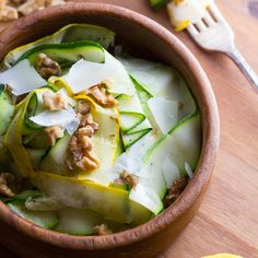 Grilled Zucchini Ribbon Salad with Walnuts & Pecorino tossed in a Zippy Lemon Vinaigrette
