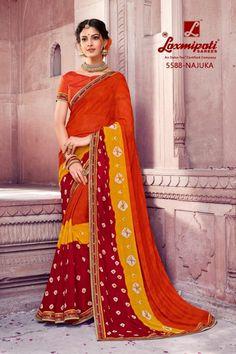 ec17c7b144aa1 laxmipati sarees mangni 5588-5597 series georgette bandhni print sarees  wholesale - Krishna Creation