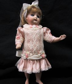 "Rose Silk Dress for a 7"" Antique Doll Mignonette All Bisque Kestner Bru Jumeau 