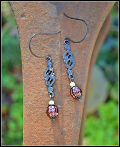 Bronze Paisley Earrings with Cranberry Red by practicallyfrivolous