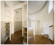pavimento in coccio pesto con moschettatura bianca; rivestimenti in pietra d'Istria Orsera, pareti in marmorino naturale