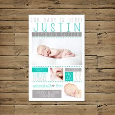 Baby Boy Birth Announcement - Custom Photo Baby Announcement - Printable - Turquoise Grey Multi Image on Etsy, $10.00