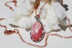 Pink Rhodochrosite Necklace Rose Gold Sterling by ornatetreasures, $86.00