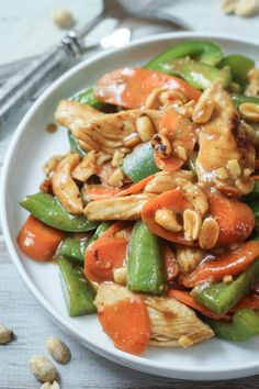 20 Minute Skinny Szechuan Chicken - I added some extra soy sauce and it was delicious! Asian Recipes, New Recipes, Dinner Recipes, Cooking Recipes, Favorite Recipes, Healthy Recipes, Recipies, Szechuan Chicken, Good Food