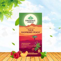 O Tulsi, quente e picante, a suculenta framboesa e o aromático pêssego, enriquecidos com uma nota de hibisco, combinam-se para criar uma infusão vibrante e frutada, perfeita para qualquer momento, quente ou fria. Embalagem de 25 saquetas #organicindia #organicindiaportugal #zurcetraud #infusoestulsibio #tulsiraspberrypeach