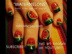Glitter watermelon nails