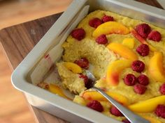 Yellow Cake Baked Oatmeal with Raspberries & Nectarines   Baking Bites
