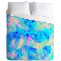 Amy Sia electrify ice blue Duvet Cover (440 BRL) ❤ liked on Polyvore featuring home, bed & bath, bedding, duvet covers, pajamas and ice blue bedding