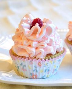 Frivolous Fabulous - White Chocolate and Raspberry Cupcakes with Raspberry Buttercream