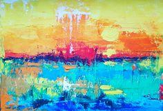 """The Earth""💚, 🎨  artwork artist painting contemporary contemporaryart interiør interiordesign interiors homedeco  ichliebees kunstliebe kunst abstractartist abstraktekunst, landscape, sea, moon, sunset"