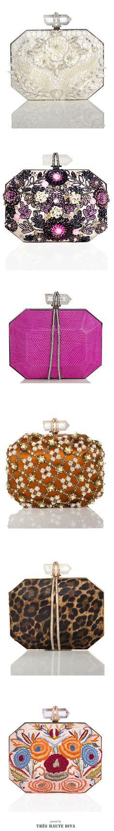 ♕ Marchesa ♔   2014-15 Carteras de forma poligonal con detalles florales de lentejuelas de colores.♥♥