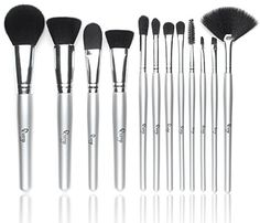 Qivange Makeup Brushes Synthetic Makeup Brush Set Foundation Blush Eyeshadow Eyelash Lip Cosmetic Brush Kit12pcs Silver Sponge Puff and Cosmetic Bag ** You can get more details by clicking on the image. (Note:Amazon affiliate link)