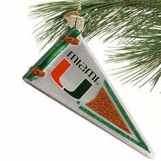 Miami Hurricanes Glass Pennant Ornament
