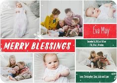 Send a merry introduction for the holiday season to introduce your newest family member to the world with this festive red and green holiday birth announcement card.