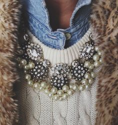 Chambray shirt, cable knit sweater, fur vest + layered necklaces