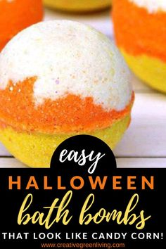 Learn how to make DIY Halloween bath bombs inspired by Lush! These fun candy corn layered bath bombs are perfect for kids to both use and make for fall! These yummy smelling homemade bath fizzies won't dissappoint. Fun Halloween Crafts, Fall Crafts, Black Bath Bomb, Green Tea Bath, Halloween Bath Bombs, Candy Corn Crafts, Best Bath Bombs, Bath Bomb Molds, Homemade Bath Bombs