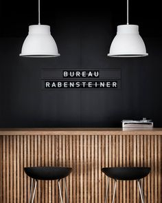 Back wall-- label signage- white pendants. Great, simple design inspiraton for a reception desk or bar! Deco Restaurant, Restaurant Design, Black Restaurant, Commercial Design, Commercial Interiors, Cafe Design, House Design, Reception Counter, Reception Desks