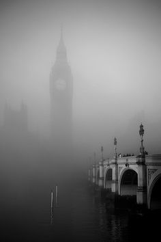 A view of Big Ben and Westminster Bridge through the fog.<br /> <br /> David Henderson Photography Fine Art Print
