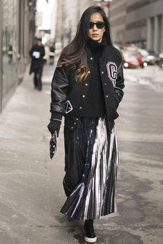 bomber jacket and metallic skirt / #nyfw #streetstyle