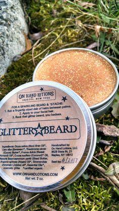 Glitter Beard Balm organic beard oil mustache wax by OnHandLotions