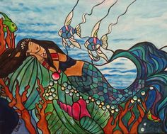 Mermaid Dream 16 x 20  Acrylic Painting on by TheStudioBurke, $320.00