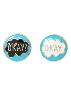 "For Jennifer!  The Fault In Our Stars post insertion earrings with an ""Okay? Okay."" design."