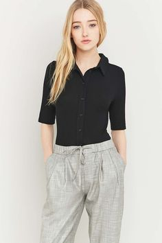 Urban Outfitters Ribbed Black Button-Down Shirt