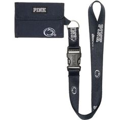 PINK Penn State University ID Holder Lanyard ($20) ❤ liked on Polyvore featuring accessories, lanyards, white and detachable key ring