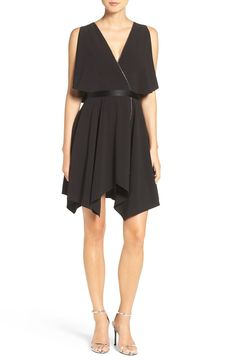 Halston Heritage Flutter Sleeve Faux Wrap Crepe Dress available at #Nordstrom