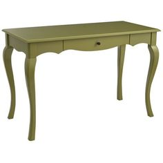 Petite French farmhouse charm comes to a neighborhood near you. Hallmarks include cabriole legs, scalloped apron and a soft painted finish set off by lustrous hardware, plus a drawer with smooth bearing glide system, for love letters.