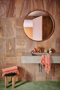 blush-toned + green tile