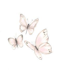 Butterfly Nursery Art, Baby Girl Nursery Sketch, S Butterfly Nursery, Butterfly Wall Art, Pink Butterfly, White Butterfly Tattoo, Butterflies, Nursery Art, Girl Nursery, Art Mural Papillon, Butterfly Sketch