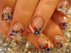4th of July Nails - Love these!!  gotta find that star polish/glitter ASAP!!