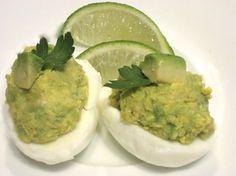 Guacamole Deviled Eggs - 4 hard boiled eggs, 1 avacado, 2 tbsp hot sauce, 1 tsp lemon juice, pinch sea salt & pepper optional.
