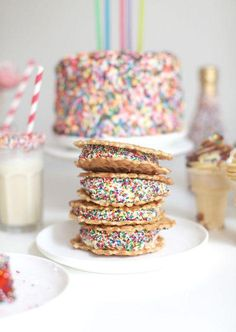 Sprinkle Party! {ice cream sandwiches w/ rainbow sprinkles}