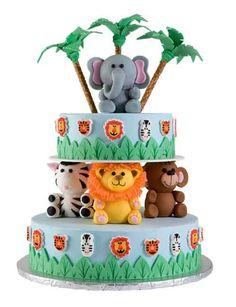 Animal Jungle Safari Theme Kids Birthday Party Cakes and Cupcakes - Mumbai Cupcakes, Cupcake Cakes, Jungle Cake, Jungle Party, Gateau Baby Shower Garcon, Safari Cakes, Safari Theme, Jungle Theme, Baby Theme