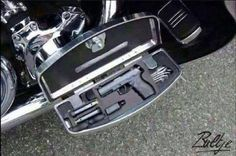 Harley Davidson Footrest pistol safe... you can find it at http://www.stashvault.com/secret-compartment-motorcycle-floorboards/