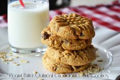 The eccentric Cook: Healthy Peanut Butter Oatmeal Chocolate Chunk Cookies