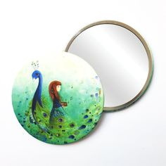 Round Pocket Makeup Mirror - The Peacock & The Girl Free Black, Black Mirror, Small Gifts, Peacock, Pocket, Makeup, Illustration, Prints, Design