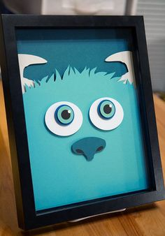 Sully Monsters Inc handcut paper cut SIZE: **Items are made to order. Paper crafts are made from acid-free paper (various colors, weights and Monsters Inc Nursery, Monsters Inc Baby Shower, Sully Monsters Inc, 3d Paper Art, 3d Paper Crafts, Paper Artwork, Monster Inc Birthday, Monster Inc Party, Monster University Party