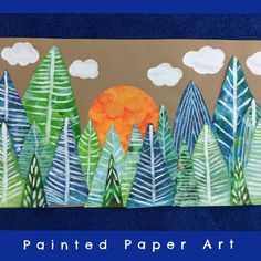 The Magical Forest – Painted Paper Art Kindergarten Art, Preschool Art, Forest Art, Magical Forest, Dark Forest, Arte Elemental, Winter Art Projects, 4th Grade Art, Collaborative Art Projects