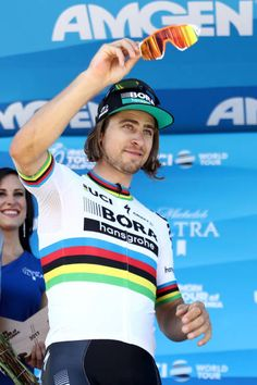 Peter Sagan of Slovakia riding for BoraHansgrohe in the Visit California Sprint Leader jersey poses for a photo on the stage following the 2017 AMGEN...
