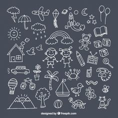 Packen Sie mit niedlichen Zeichnungen für den Tag der Kinder Kostenlose Vektoren