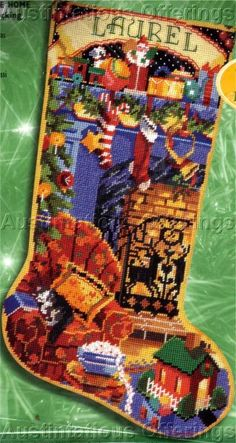Rare Home Fireside Needlepoint Stocking Kit Nancy Rossi Cozy Cat