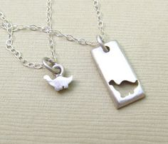 Tiny Dinosaur Mother Daughter Necklace Set