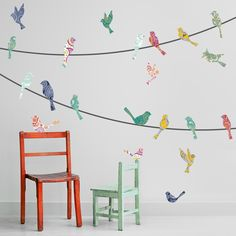 Wall Decal - Paisley Birds on a Wire on wall beside chairs!