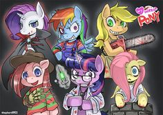 My little pony friendship is magic crossed with horror icons. Mlp Creepypasta, Nightmare Night, Youtube Halloween, Horror Photos, Little Poni, My Lil Pony, Horror Icons, Mlp Pony, My Little Pony Friendship